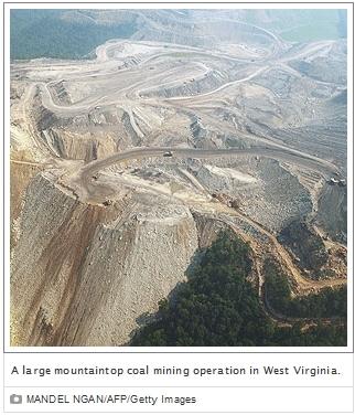 Mountaintop coal mine in West Virginia