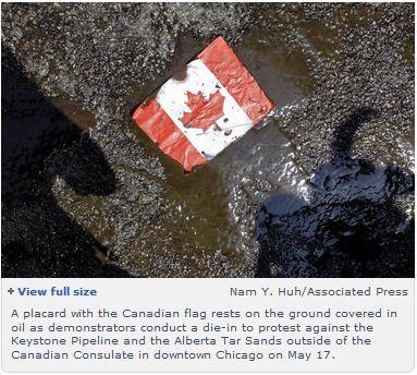 Oiled Canadian Flag at Keystone rally in Chicago