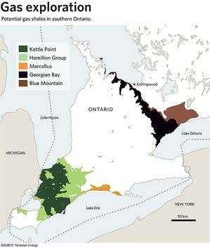 Potential shale gas areas in southern Ontario